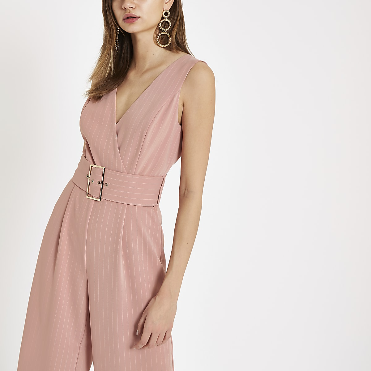 Pink pinstripe belted wide leg jumpsuit