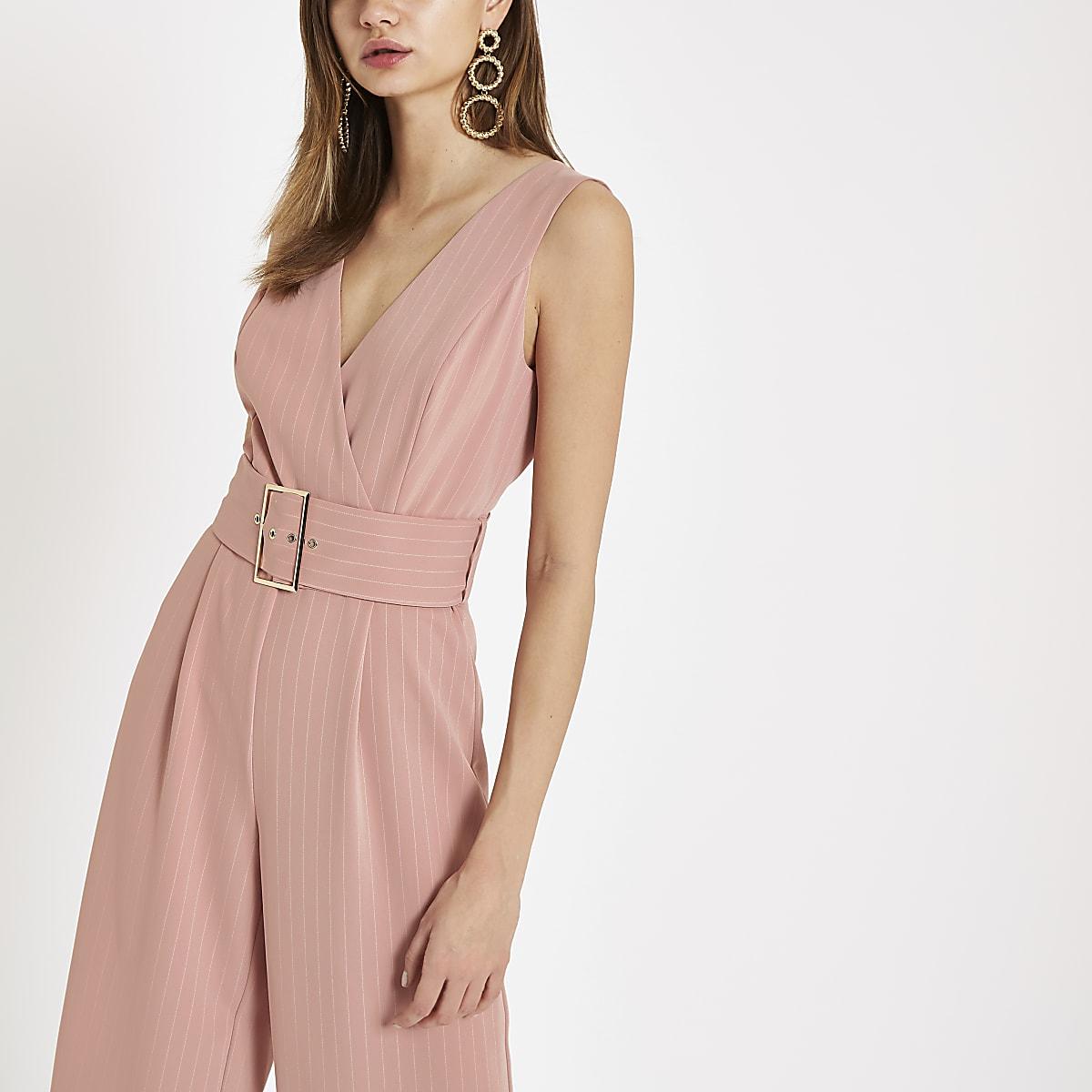 Pink pinstripe belted wide leg jumpsuit