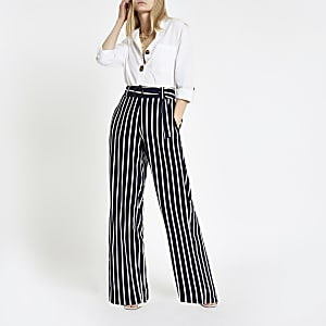 Navy stripe wide leg pants