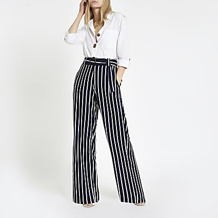 Navy stripe wide leg trousers