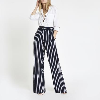 Navy stripe wide leg trousers