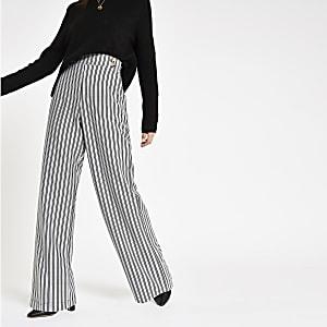 Zwarte gestreepte broek met wijde pijpen en dubbele knopenrij