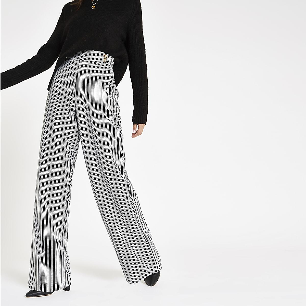 Black stripe double button wide leg pants