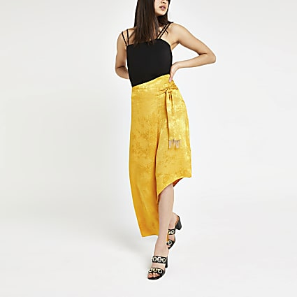 Yellow snake jacquard midi skirt