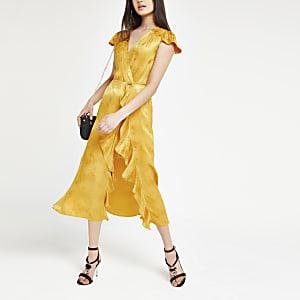 Gele midi-jurk met slangenprint en ruches