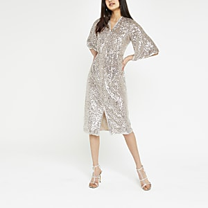 Silver sequin embellished kimono dress