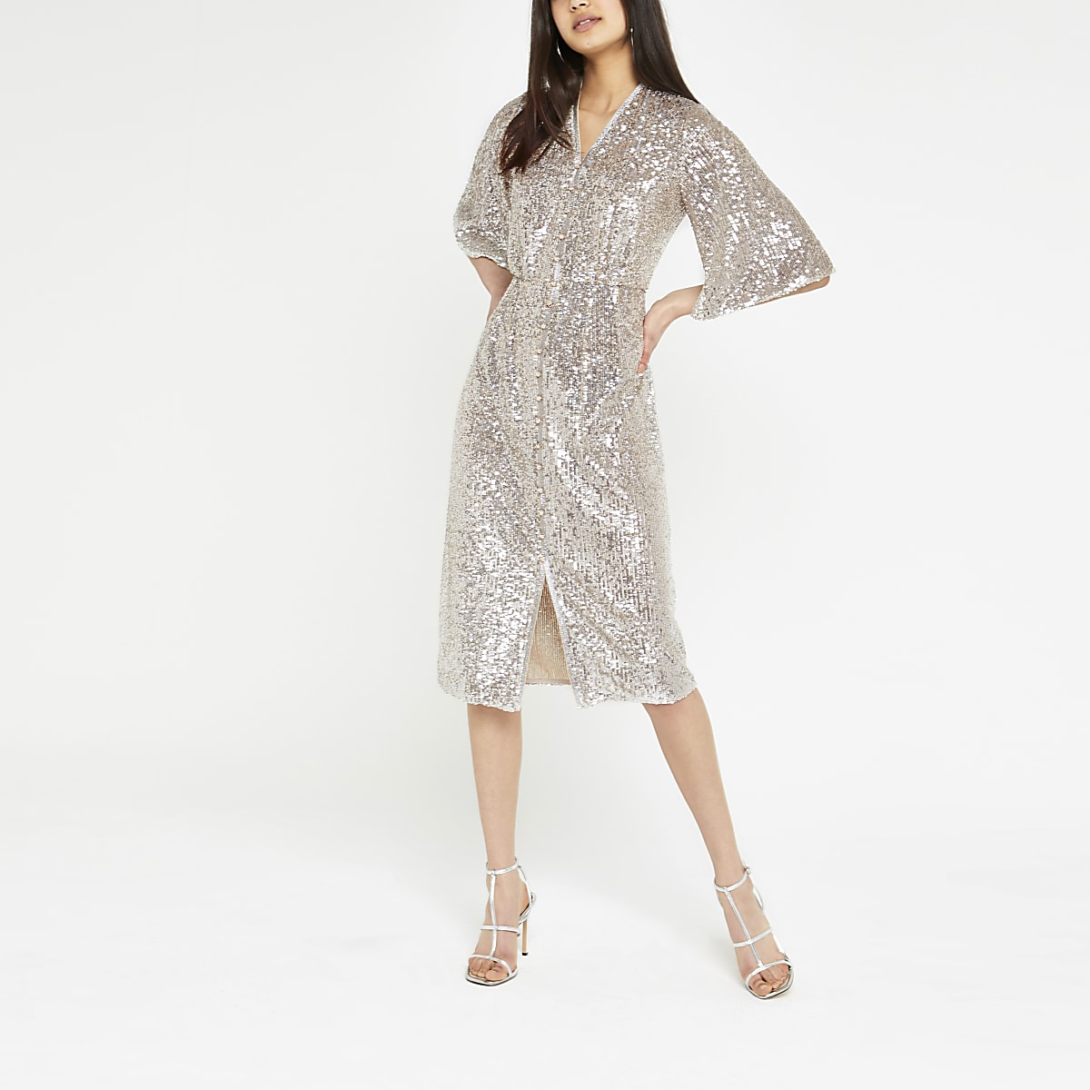 Silver sequin embellished kimono dress