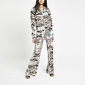 Brown animal print kimono shirt