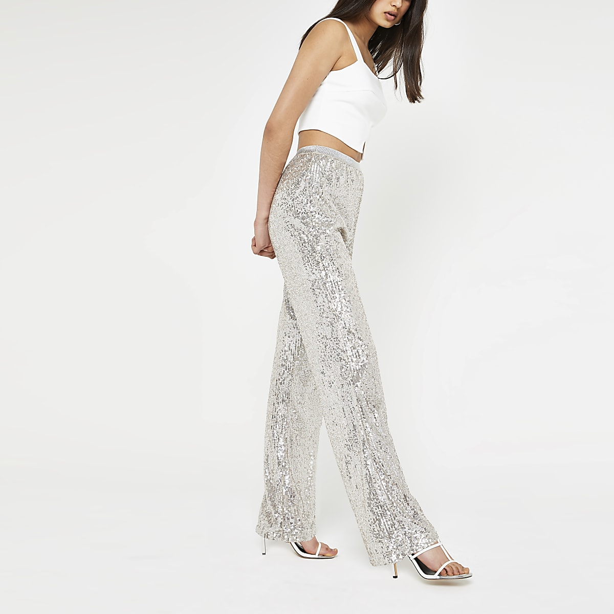 Silver sequin embellished straight trousers