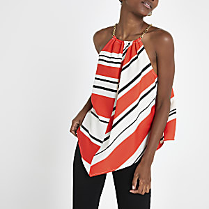 Red stripe halter neck top