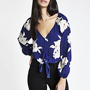 Blue floral tie front crop top