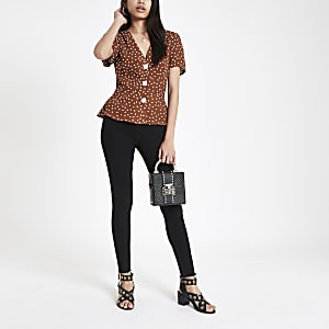 Brown spot print short sleeve tea top