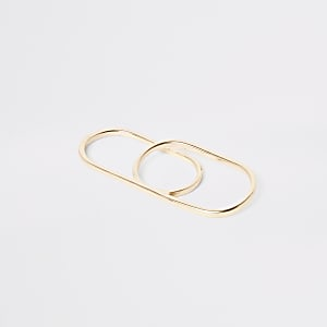 Gold colour double finger ring