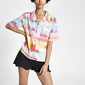 Roze overhemd met 'Cali Dreamer'-print en korte mouwen