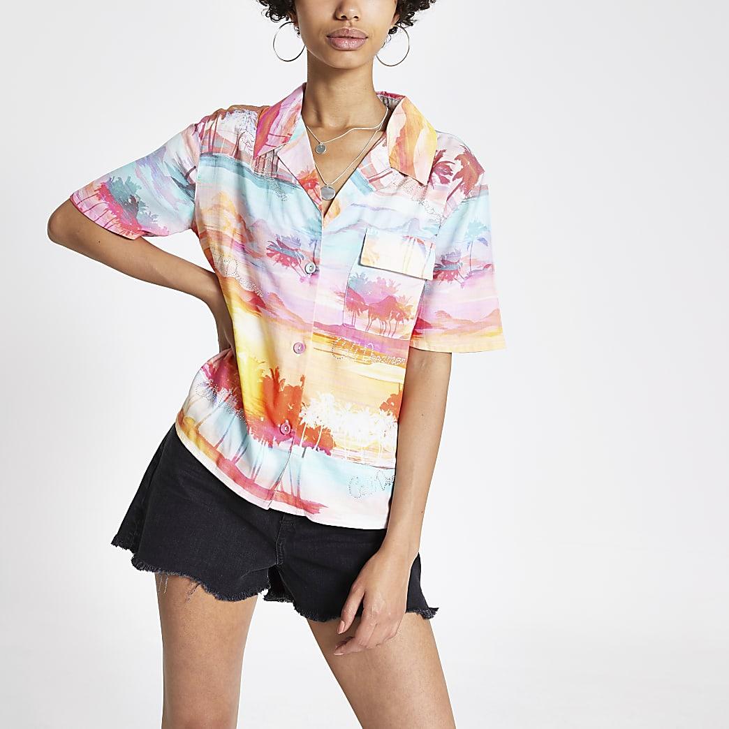 Pink print 'Cali Dreamer' short sleeve shirt
