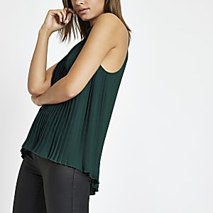 Green pleated tie halter neck top