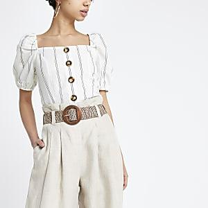 Wit topje met zwarte strepen en vierkante hals