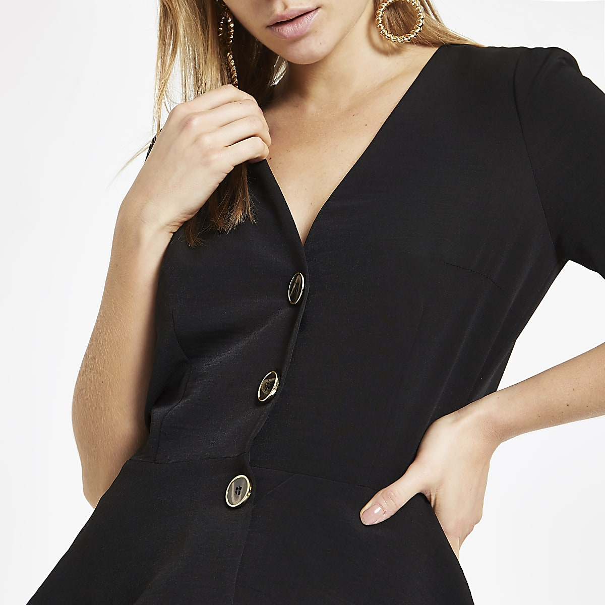 Black button-up peplum hem top