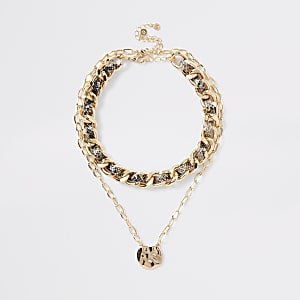 Brown snake print layered choker necklace
