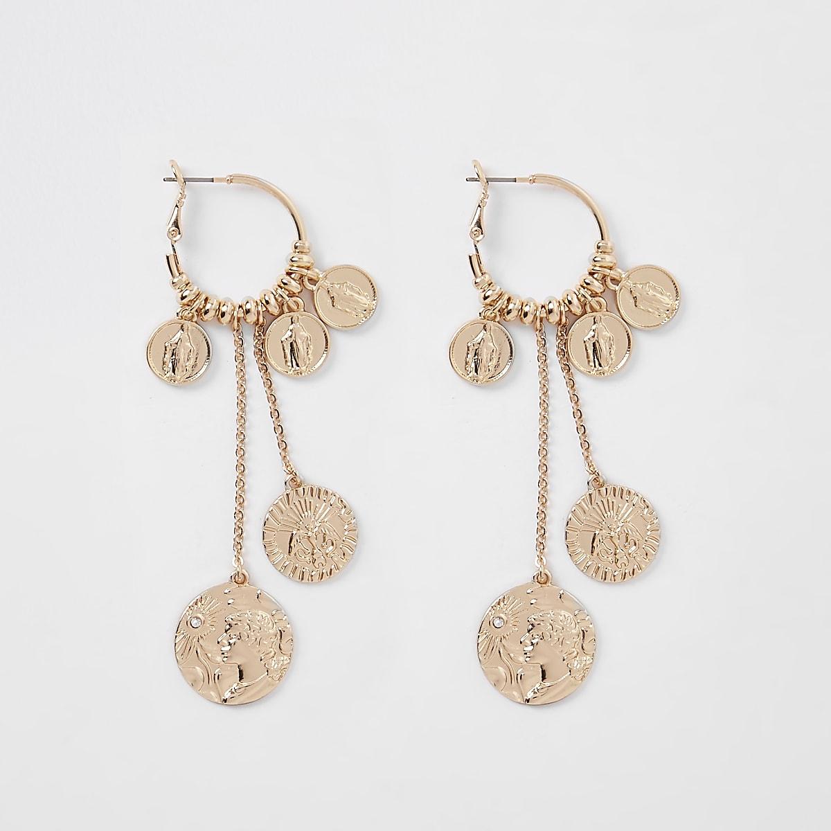 Gold tone coin cluster hoop drop earrings
