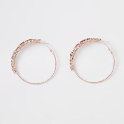 Rose gold colour jewelled hoop earrings
