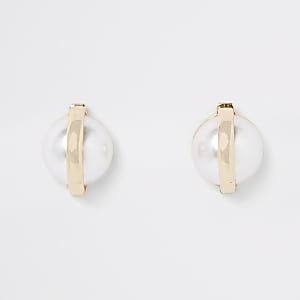 Gold colour pearl capped stud earrings