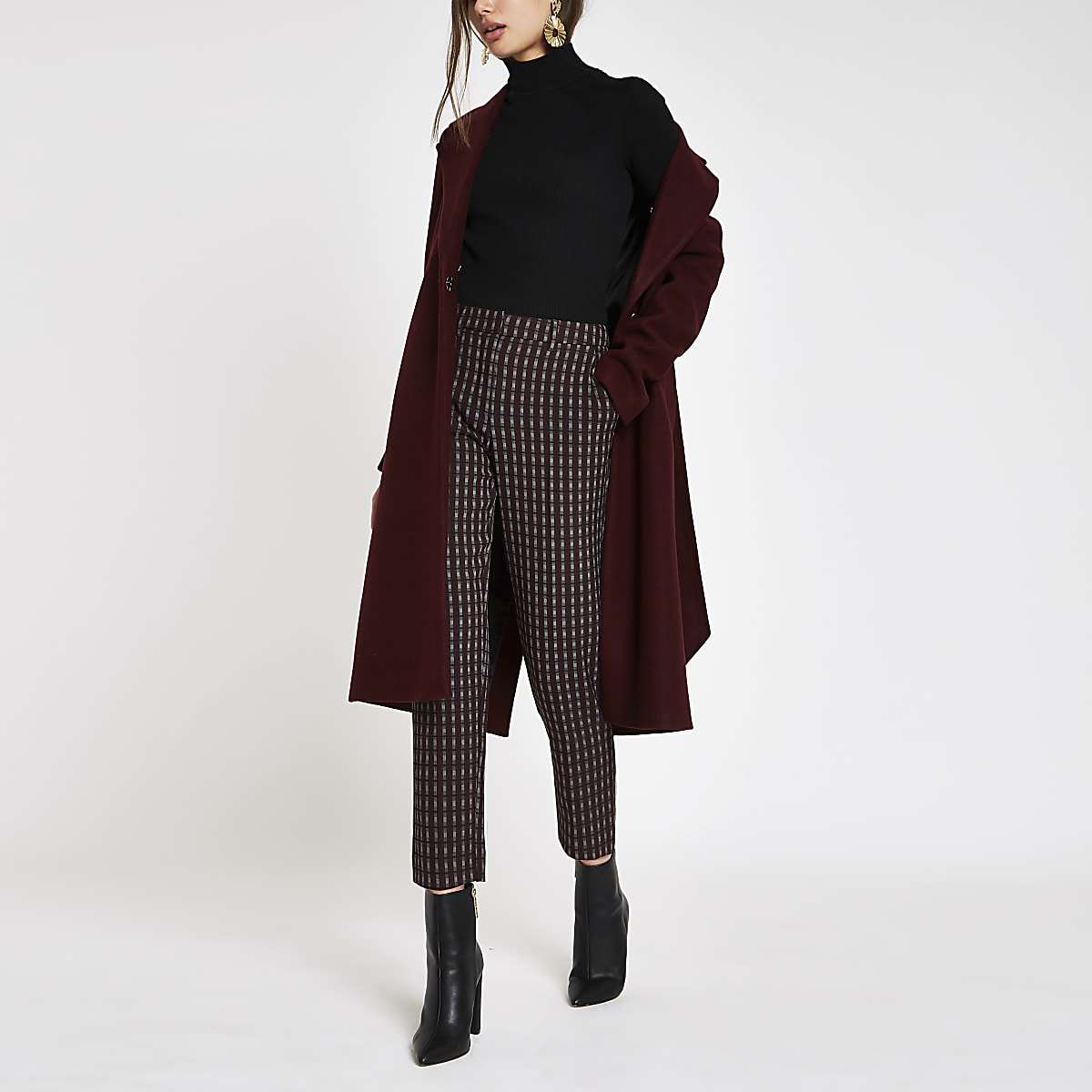 Burgundy check straight leg trousers