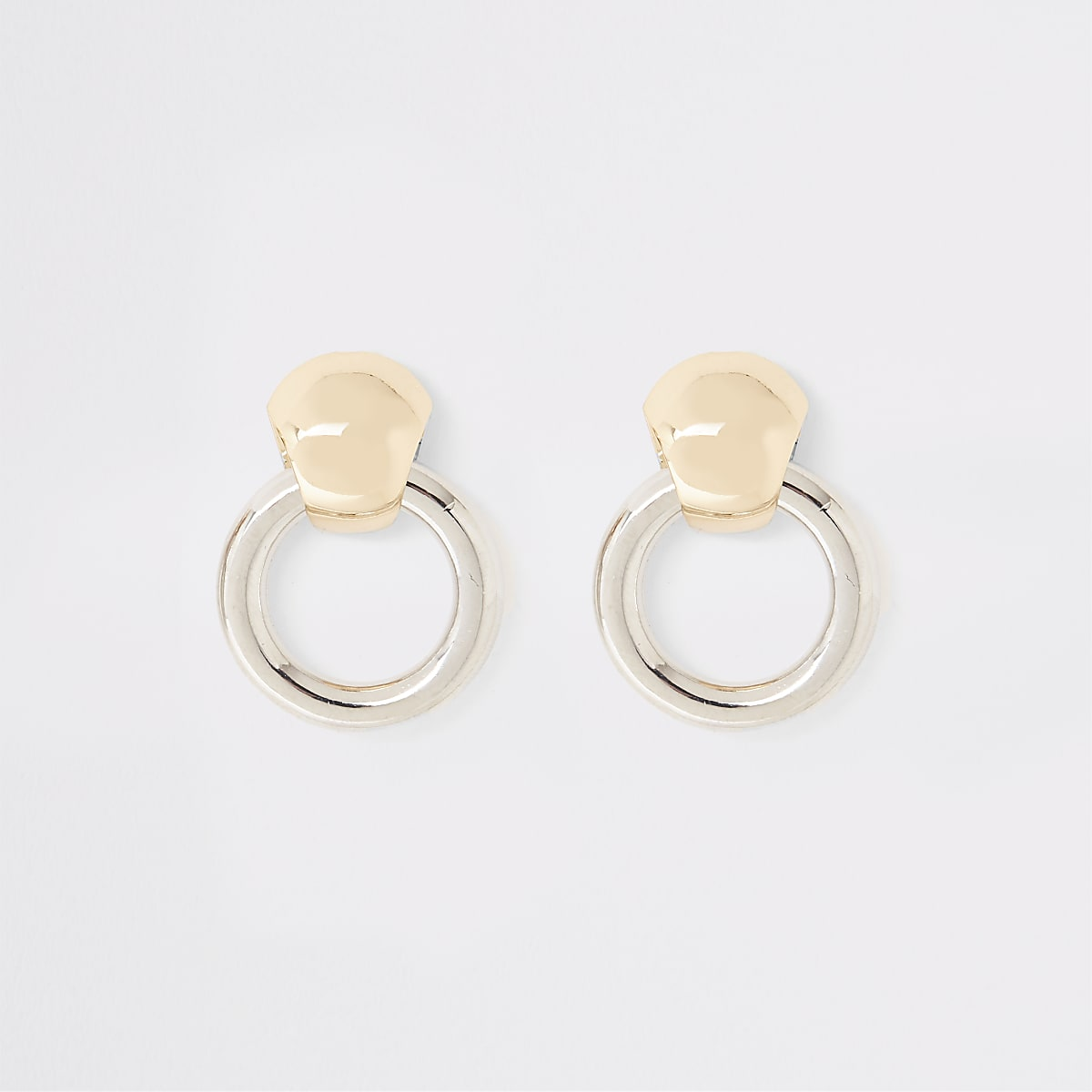 Gold and silver color circle stud earrings