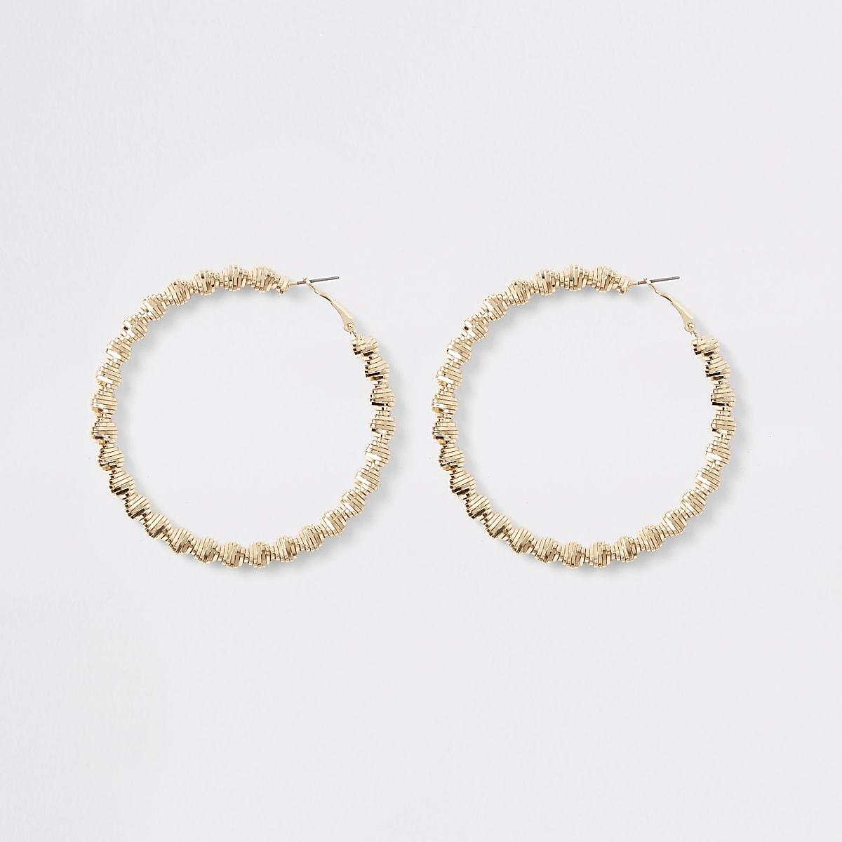Gold colour bobble rope hoop earrings