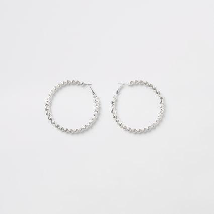 Silver colour bobble rope hoop earrings