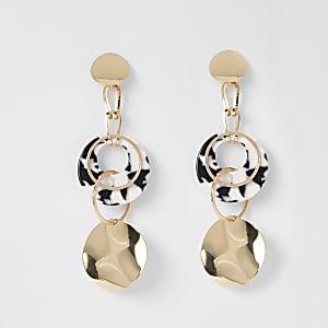 Goudkleurige oorhangers met schijf en ring