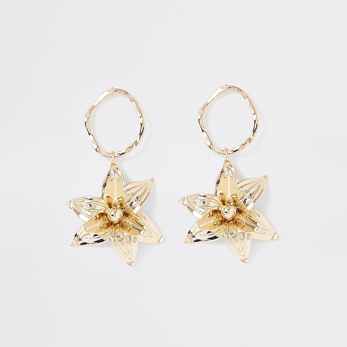 Gold colour flower drop earrings