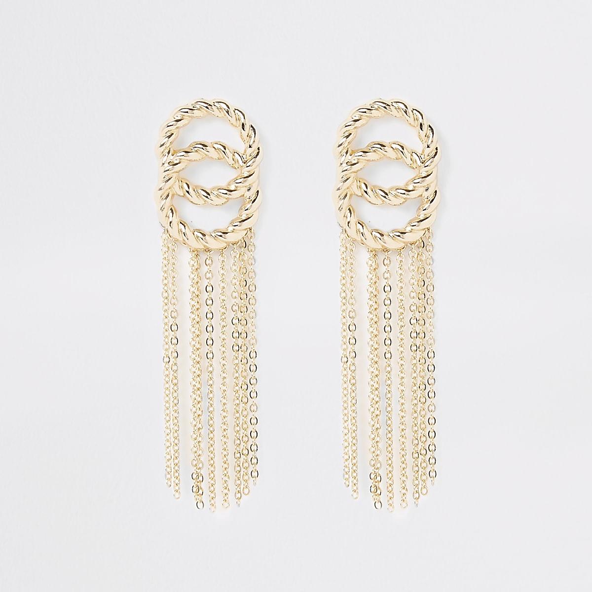 Gold color twist tassel drop earrings