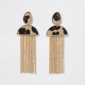 Goudkleurige oorbellen met bruine luipaardprint en kwastje