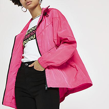 Neon pink anorak jacket