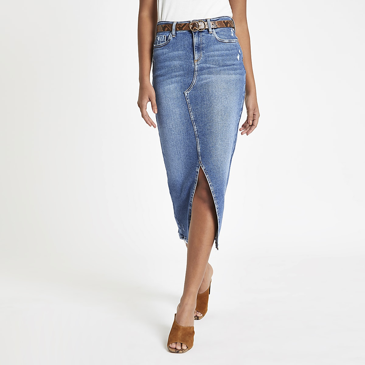 Blue denim split front midi pencil skirt