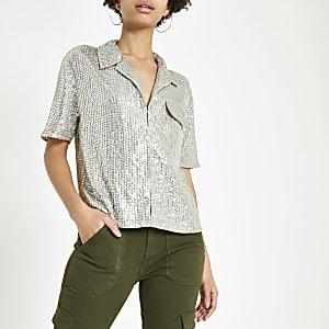 Zilverkleurig verfraaid overhemd met pailletten