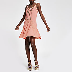 Neon pink cutout slip dress
