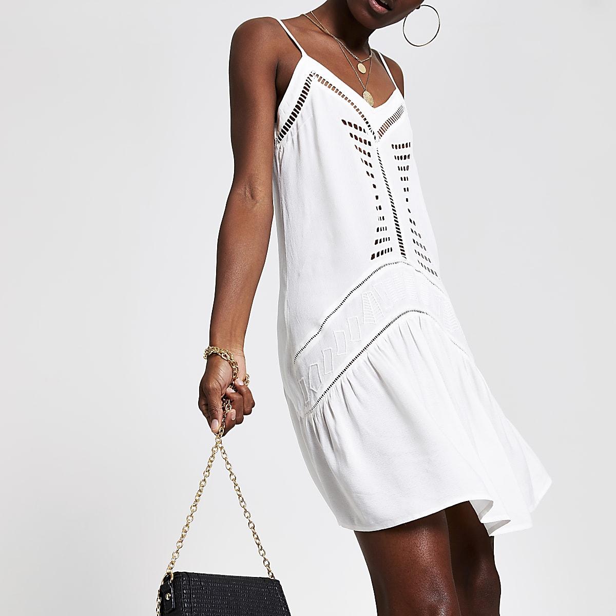 White cut out slip dress