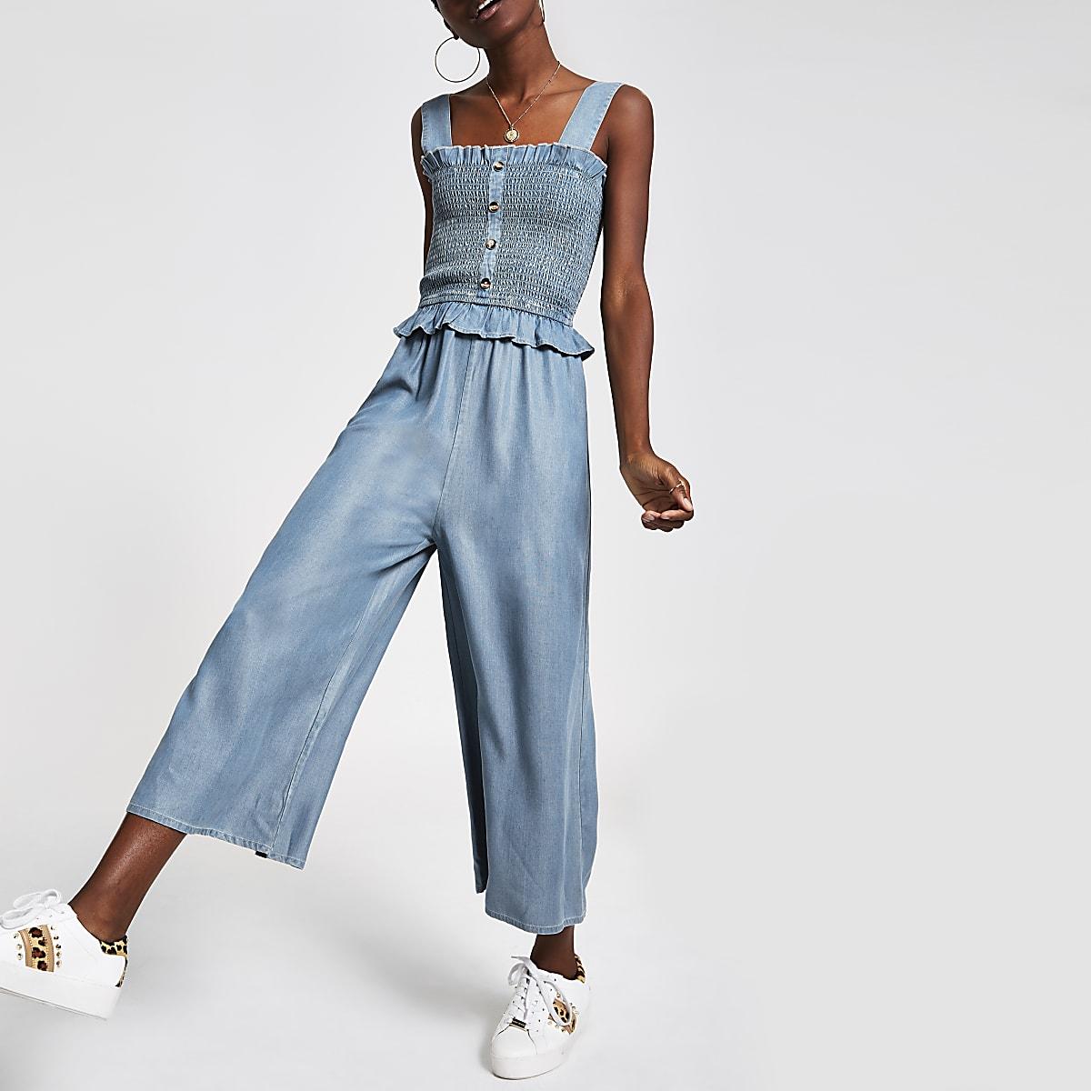 Light blue wide leg jumpsuit