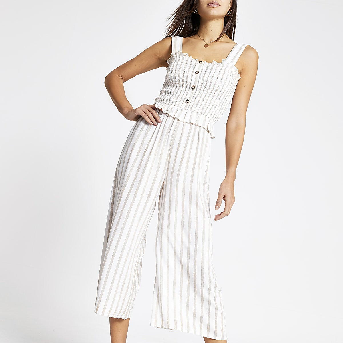 Stone stripe wide leg jumpsuit