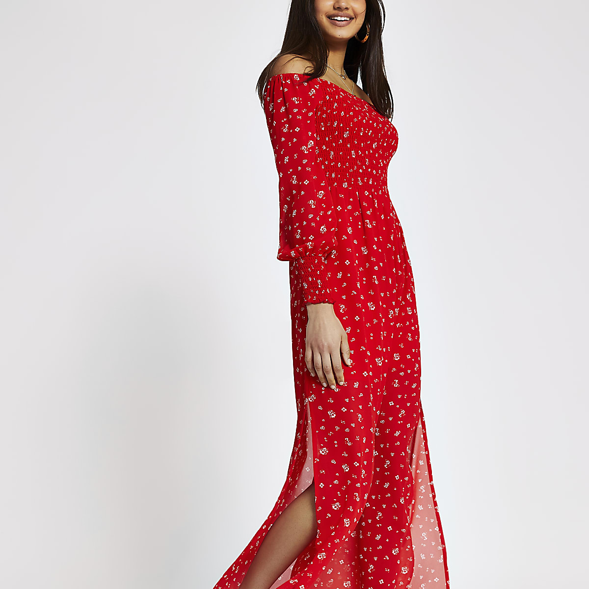 Red print bardot maxi dress