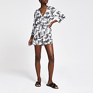 Navy palm print playsuit