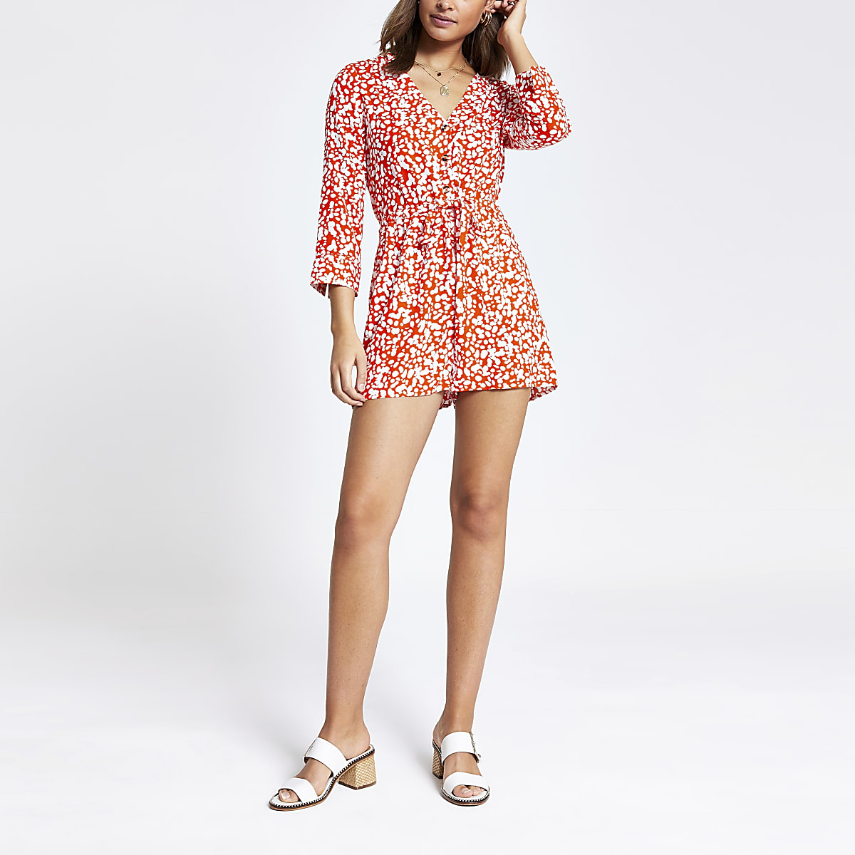 Red print playsuit