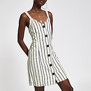Gestreiftes Kleid mit rückseitiger Schnürung in Creme
