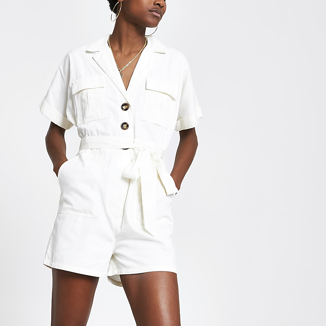 White utility playsuit