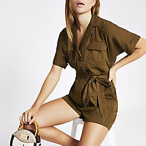 Playsuit zum Binden in Khaki