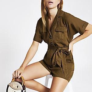 Combi-short chemise kaki noué à la taille