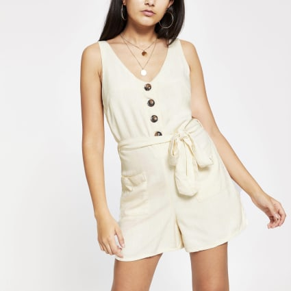 Cream button front playsuit