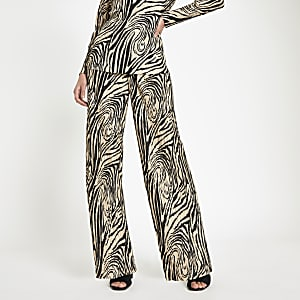 Cream plisse zebra print wide leg pants